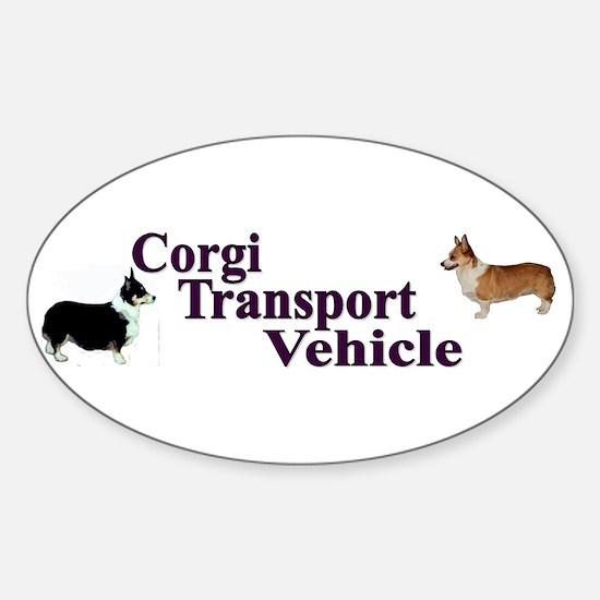 Corgi Tranportation Vehicle Sticker (Oval)