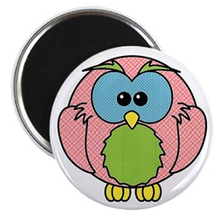 Pink Dotty Owl Magnet