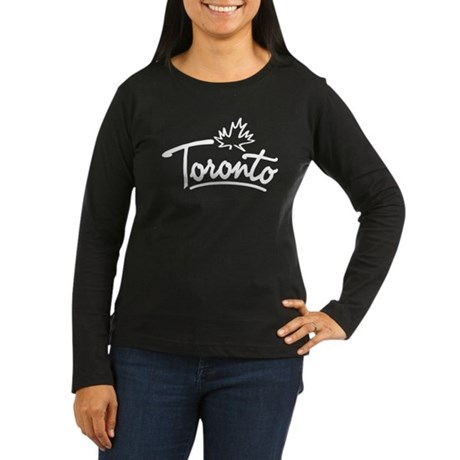Toronto Leaf Script Women's Long Sleeve Dark T-Shi