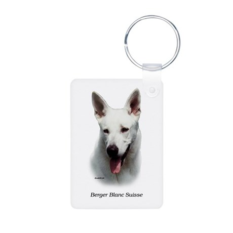 White Shepherd Aluminum Photo Keychain