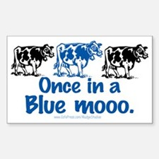 Once in a Blue moo Cow Rectangle Decal