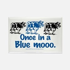 Once in a Blue moo Cow Rectangle Magnet
