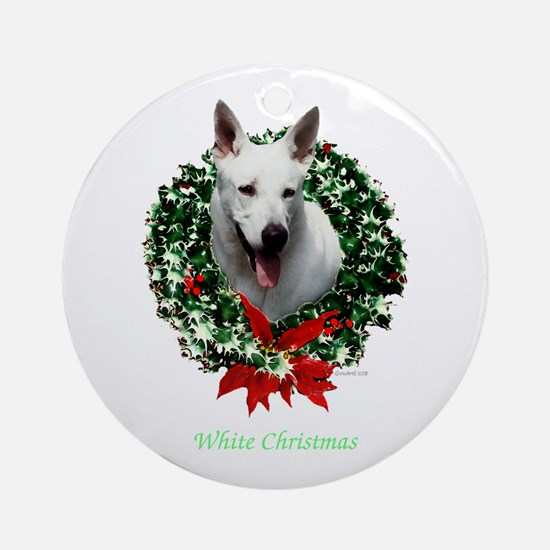 White Shepherd Ornament (Round)