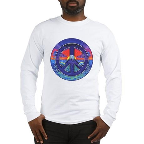 Dolphis and Peace Sign Long Sleeve T-Shirt