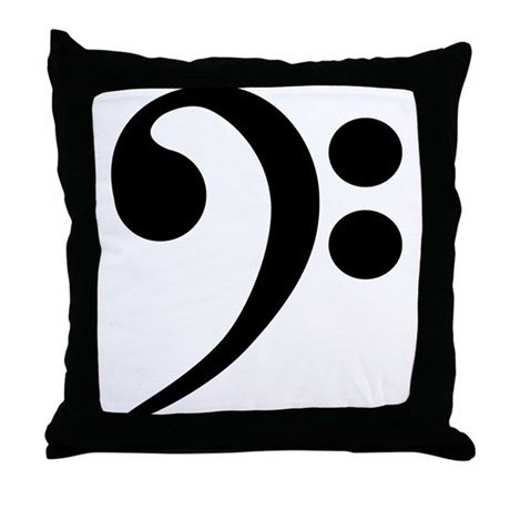 Bass Clef Symbol Throw Pillow