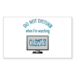 Do Not Disturb Watching Castle Sticker (Rectangle)