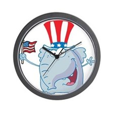 Patriotic Elephant with American Flag Wall Clock