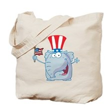 Patriotic Elephant with American Flag Tote Bag