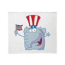 Patriotic Elephant with American Flag Stadium Bla