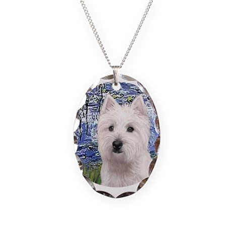 Lilies6-Westie 11b Necklace Oval Charm