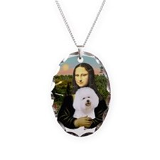 Mona Lisa - Bichon Frise 1 Necklace Oval Charm
