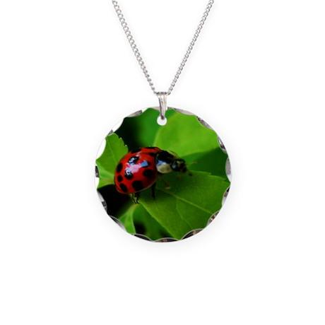 Lady Bug Necklace Circle Charm
