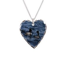 Two Loons Necklace Heart Charm
