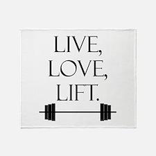 Live, Love, Lift Throw Blanket