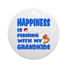 Happiness Is Fishing With Gra Ornament (Round)