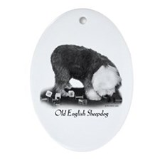 Old English Sheepdog Obedience Ornament (Oval)
