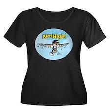 Aim High! Women's Plus Size Scoop Neck Dark T-Shir
