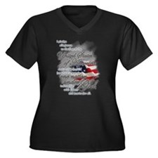 US Pledge - Women's Plus Size V-Neck Dark T-Shirt