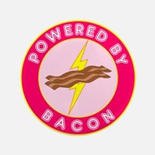 """Powered By Bacon (Pink) 3.5"""" Button (100 pack"""