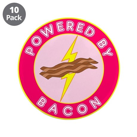 """Powered By Bacon (Pink) 3.5"""" Button (10 pack)"""