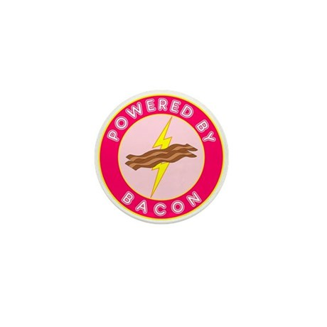 Powered By Bacon (Pink) Mini Button