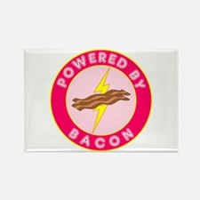 Powered By Bacon (Pink) Rectangle Magnet