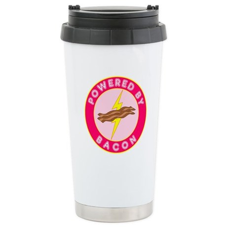 Powered By Bacon (Pink) Stainless Steel Travel Mug