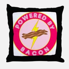 Powered By Bacon (Pink) Throw Pillow