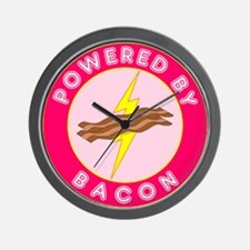 Powered By Bacon (Pink) Wall Clock