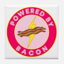 Powered By Bacon (Pink) Tile Coaster