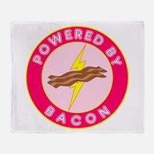 Powered By Bacon (Pink) Throw Blanket