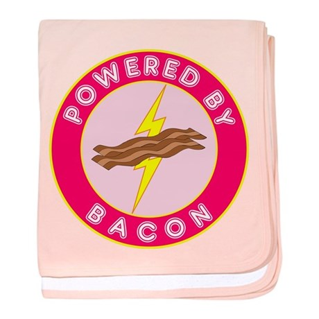 Powered By Bacon (Pink) baby blanket