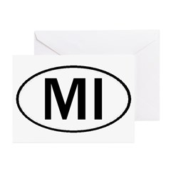 MICHIGAN OVAL STICKERS & MORE Greeting Cards (Pk o