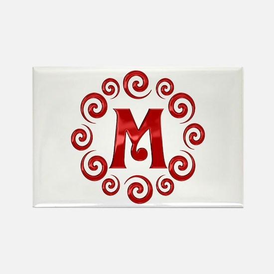 Red M Monogram Rectangle Magnet