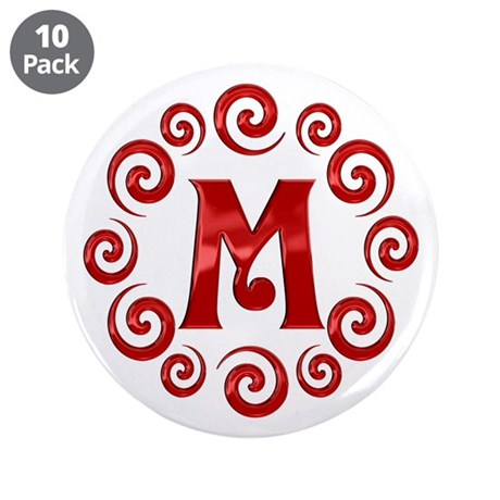 """Red M Monogram 3.5"""" Button (10 pack)"""