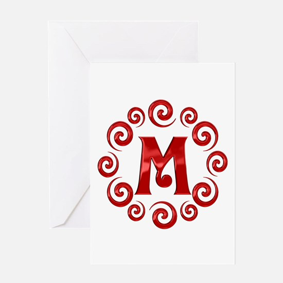 Red M Monogram Greeting Card