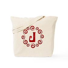 Red J Monogram Tote Bag