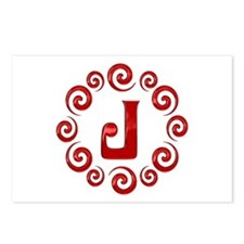 Red J Monogram Postcards (Package of 8)