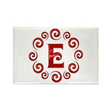 Red E Monogram Rectangle Magnet