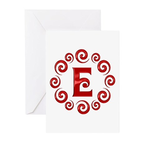 Red E Monogram Greeting Cards (Pk of 20)