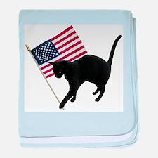 Cat American Flag baby blanket