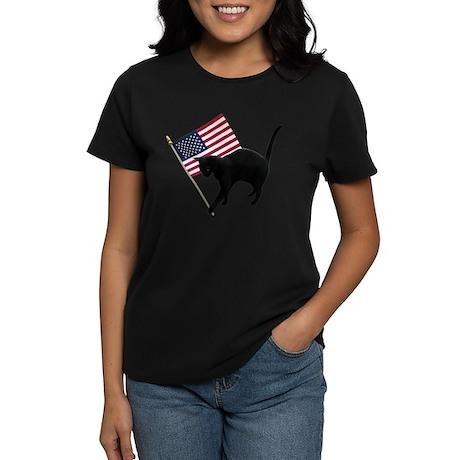Cat American Flag Women's Dark T-Shirt