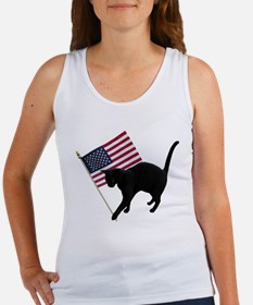 Cat American Flag Women's Tank Top