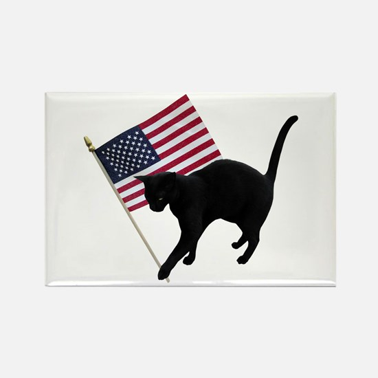 Cat American Flag Rectangle Magnet