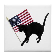 Cat American Flag Tile Coaster