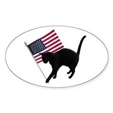 Cat American Flag Decal