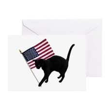 Cat American Flag Greeting Card