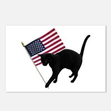 Cat American Flag Postcards (Package of 8)