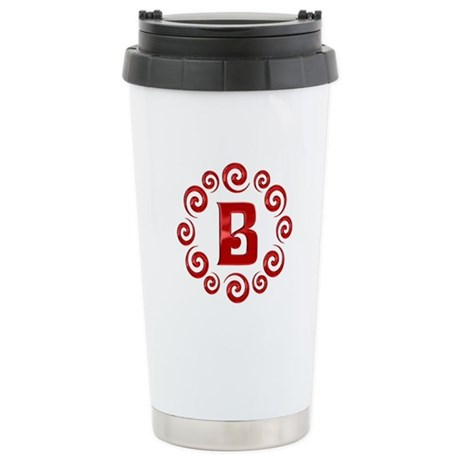Red B Monogram Stainless Steel Travel Mug