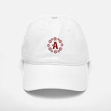 Red A Monogram Baseball Baseball Cap